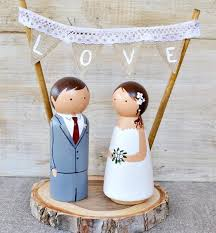 custom wedding cake toppers and groom wooden peg cake topper rustic wedding cake topper custom wedding