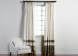 Ivory Linen Curtains Ivory Sayre Linen Pinch Pleat Panel With Celadon Border Ethan Allen