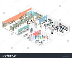 isometric interior shopping mall grocery computer stock vector