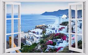 wall stickers greece wall stickers greece giant greece view 3d window art wall decals sticker new wallpaper sea