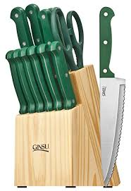 sets of kitchen knives amazon com ginsu essential series 14 stainless steel serrated