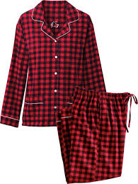 lanz buffalo check flannel pjs button front cotton pajamas