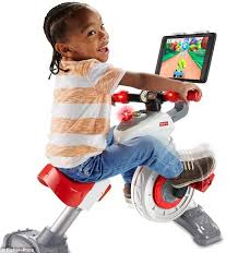 fischer price reveals spin bike for toddlers that has a tablet