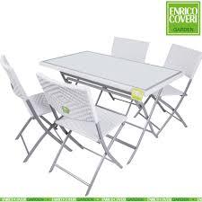 tavoli e sedie per esterno prezzi set completo tavolo 4 sedie pieghevoli bianco wicker e acciaio