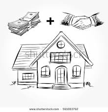 house to draw sketch house architecture drawing free hand stock vector 591083792