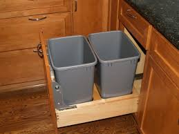Wooden Kitchen Garbage Cans by New Black Painted Wood Double Trash Bin Cabinet Garbage Can Tilt