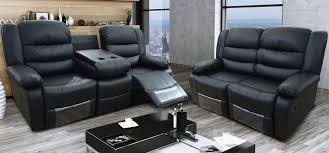 Two Seater Electric Recliner Sofa Roma Recliner 3 2 Seater Bonded Leather Black Regarding Two Seater