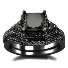 black wedding sets 2 01ct black princess cut diamond engagement ring wedding set 14k