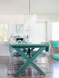 Teal Dining Table Turquoise Dining Table Colorful Painted Dining Table Inspiration