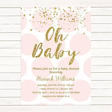 pink and gold baby shower invitations girl baby shower invitations isura ink