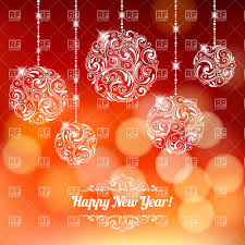 new years back drop new year card with hanging balls on defocused backdrop royalty