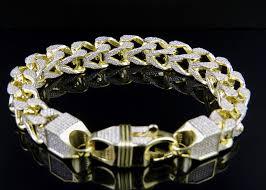 bracelet diamond ebay images Men sterling silver franco iced out bracelet in yellow gold finish jpg
