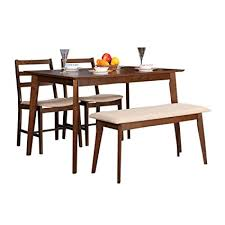 4 seater dining table with bench hometown zina 4 seater dining table set with bench light walnut
