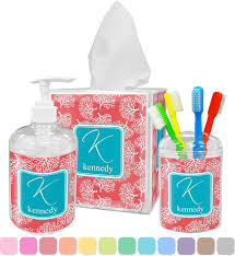 amazon com coral u0026 teal bathroom accessories set personalized