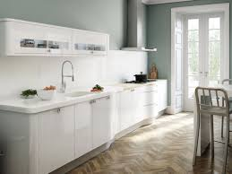 decorations single line of white kitchen with mounted cabinet