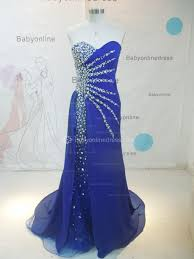 royal blue chiffon crystals mermaid evening gowns sweetheart