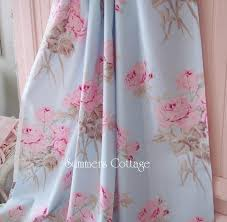 Shabby Chic Shower by Shabby Cottage Blue Pink Roses Chic Drapes Curtain Fabric By The