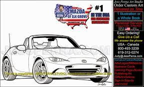 mazda car dealer digital caricature ad illustration caricatures