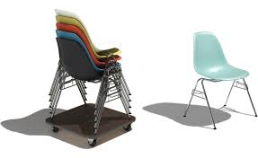 eames molded plastic side chair with stacking base hivemodern com