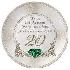 personalized anniversary plate gorgeous personalized 20th anniversary gifts plate zazzle