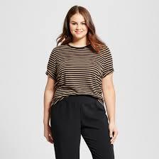 s plus size striped rib trim sleeve t shirt who what