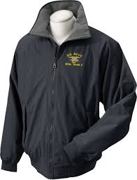 navy custom embroidered ship insignia jackets