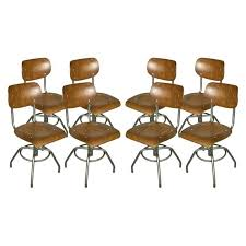 Adjustable Height Chairs Eight Industrial Steel And Wood Chairs Adjustable Height