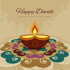 diwali card with colorful ornaments vector free