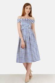 blue and white stripe bardot dress