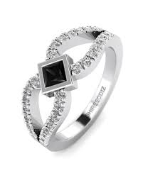 black diamond promise ring princess cut black diamond promise ring in white gold shiree odiz