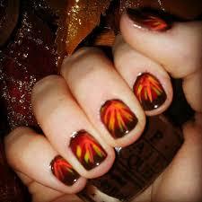 glossy autumn fall nail design