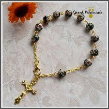 rosary bracelets 25pcs lot wholesale reilgious 8mm blue cloisonne rosary