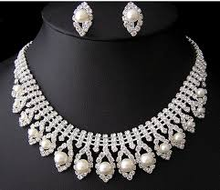 pearl necklace earring images Bridal crystal pearl necklace earrings set ps122 nepal melbourne shop jpg