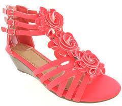 womans ladies low wedge heel summer flower party dress sandals uk