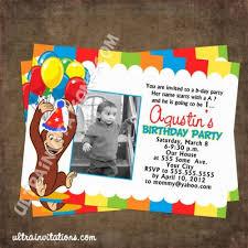 birthday invites captivating curious george birthday invitations