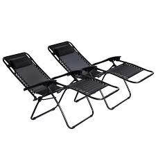 Folding Recliner Chair 2x Folding Reclining Garden Deck Chair Sun Lounger Zero Gravity