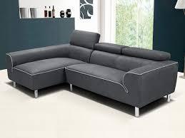 vente unique canapé canapé angle gauche tissu toula avec têtières anthracite canapes