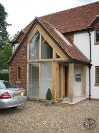 hand crafted oak timber framed glazed porch entrance by carpenter