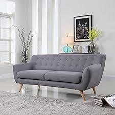 Amazoncom Mid Century Modern Style Sofa  Love Seat Red Grey - Mid century sofas