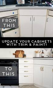 white kitchen cabinets wood trim how to add trim and paint your laminate cabinets brepurposed