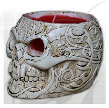 porcelain skeleton ring holder images Goth skull resin candle holder with wax candle spiral direct ltd