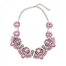 bib necklace crystal images Rose quartz blush art deco crystal statement bib necklace jpg