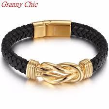 stainless steel buckle bracelet images Granny chic fashion men black leather bracelet stainless steel jpg