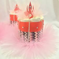 set of 4 coral pink and gray chevron mini diaper cake centerpieces