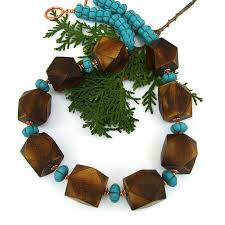 wood beads necklace designs images Chunky wood and turquoise boho necklace magnesite handmade jpg