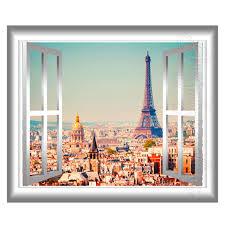 3d window wall decal eiffel tower paris home decor france 3d wall