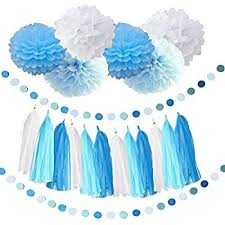 birthday decorations baby blue white turquoise