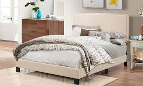 Fabric Platform Bed Ramon Size Fabric Platform Bed With Nailhead Trim Groupon