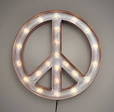 peace sign decorations for bedrooms illuminated peace sign weathered metal