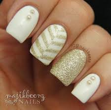 white nails with gold stripe google search nails